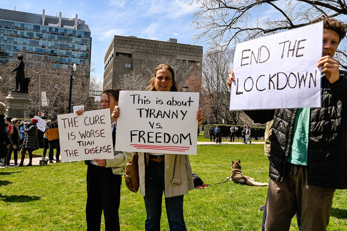 Anti-lockdown protestors claiming that measures to control the spread of COVID-19 are an infringement of freedom in Vancouver – April 25, 2020. (michael_swan/flickr)