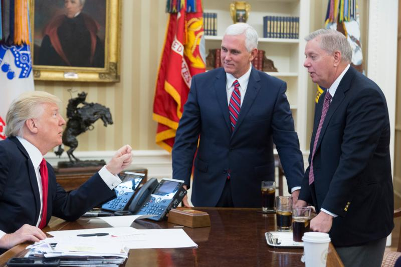 President Donald Trump, Vice President Mike Pence, and Senator Lindsey Graham in the Oval Office – July 28, 2017. (Official White House Photo)
