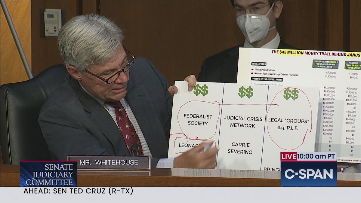 Senator Whitehouse (D-RI) outlining the dark money conservative machine that focuses on creating a conservative judiciary – October 13, 2020. (C-SPAN)