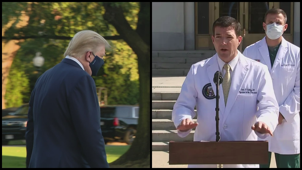 President Trump departing the White House for Walter Reed Medical Center and Dr. Sean Conley giving a weekend press briefing on Trump's health. (C-SPAN)