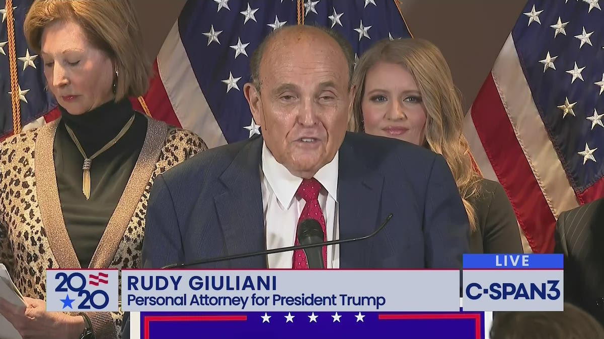 Trump's lawyers Rudy Giuliani, Sidney Powell, and Jenna Ellis delivering a conspiracy theory filled press conference on Thursday – November 19 (C-SPAN)