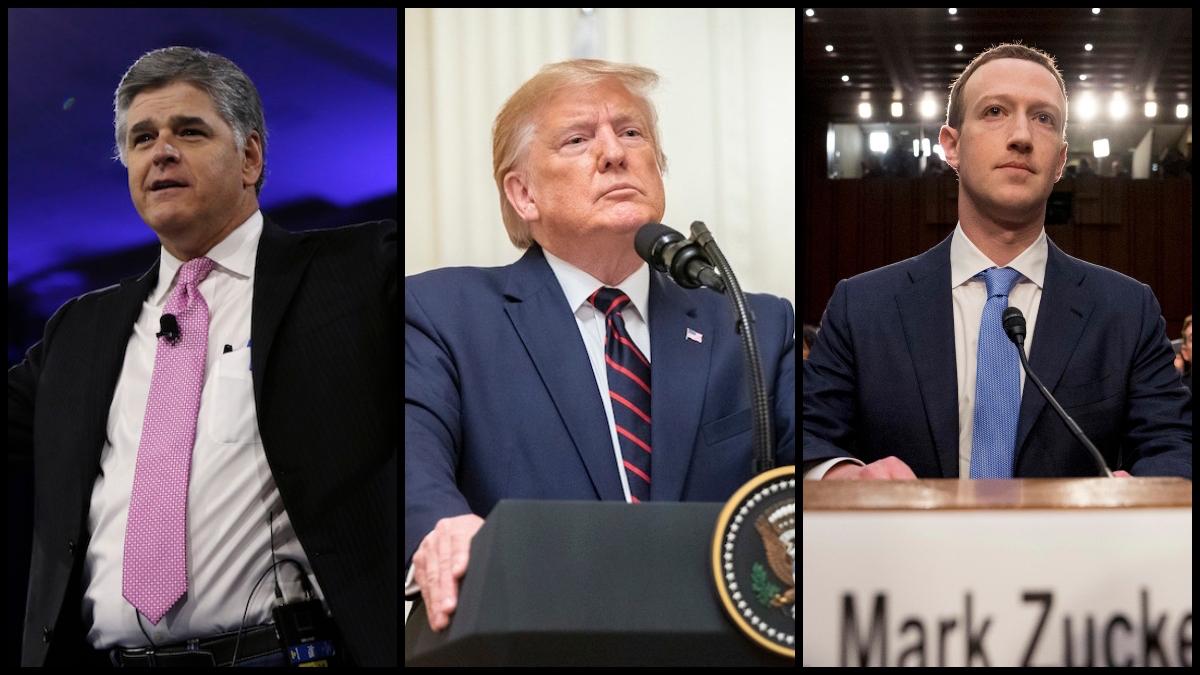 Fox News Host Sean Hannity, Soon-To-Be-Former President Donald Trump, and Facebook CEO Mark Zuckerberg (AP)