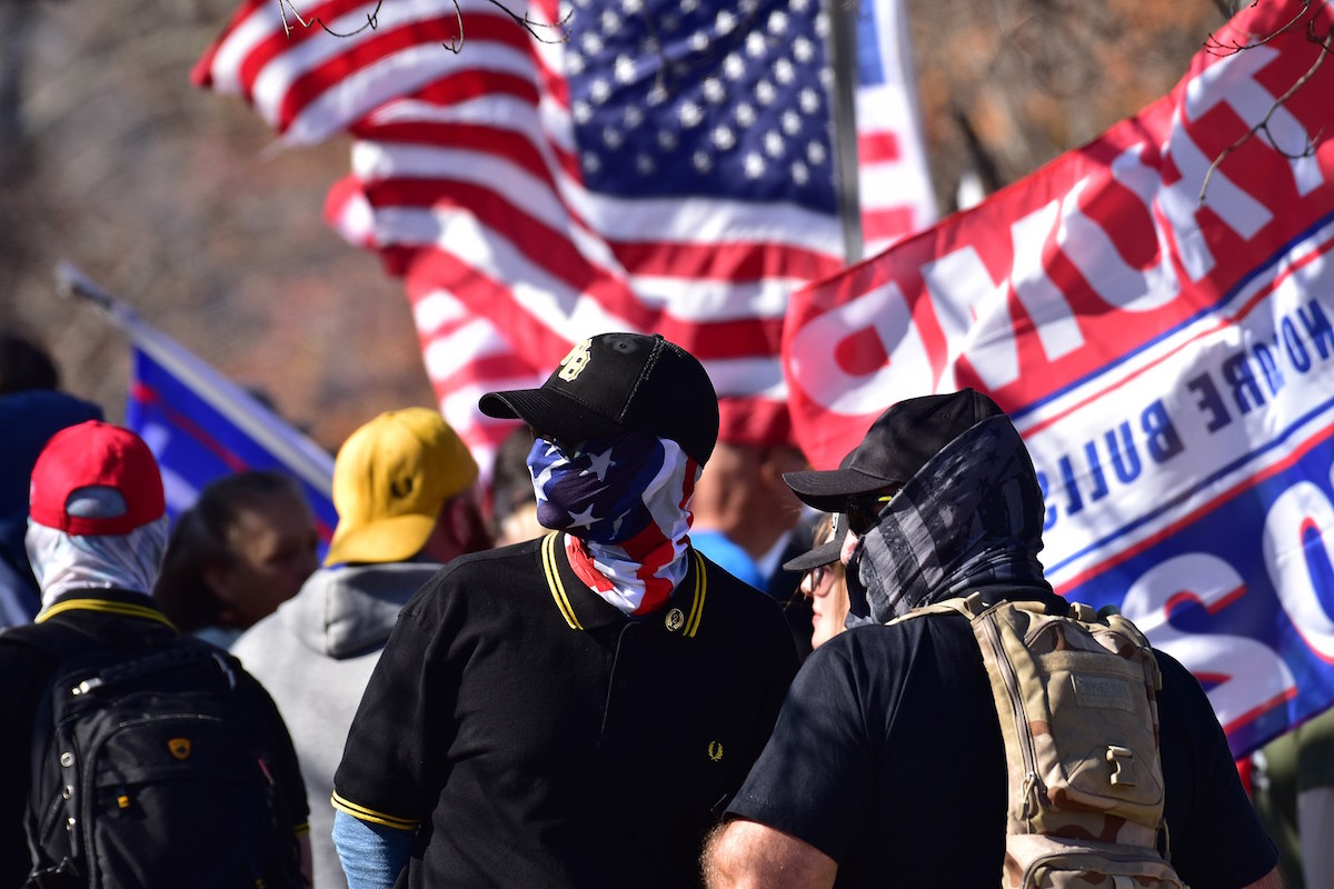 Proud Boys in Raleigh, North Carolina – November 28, 2020. (Anthony Crider, CC BY 2.0, via Wikimedia Commons)