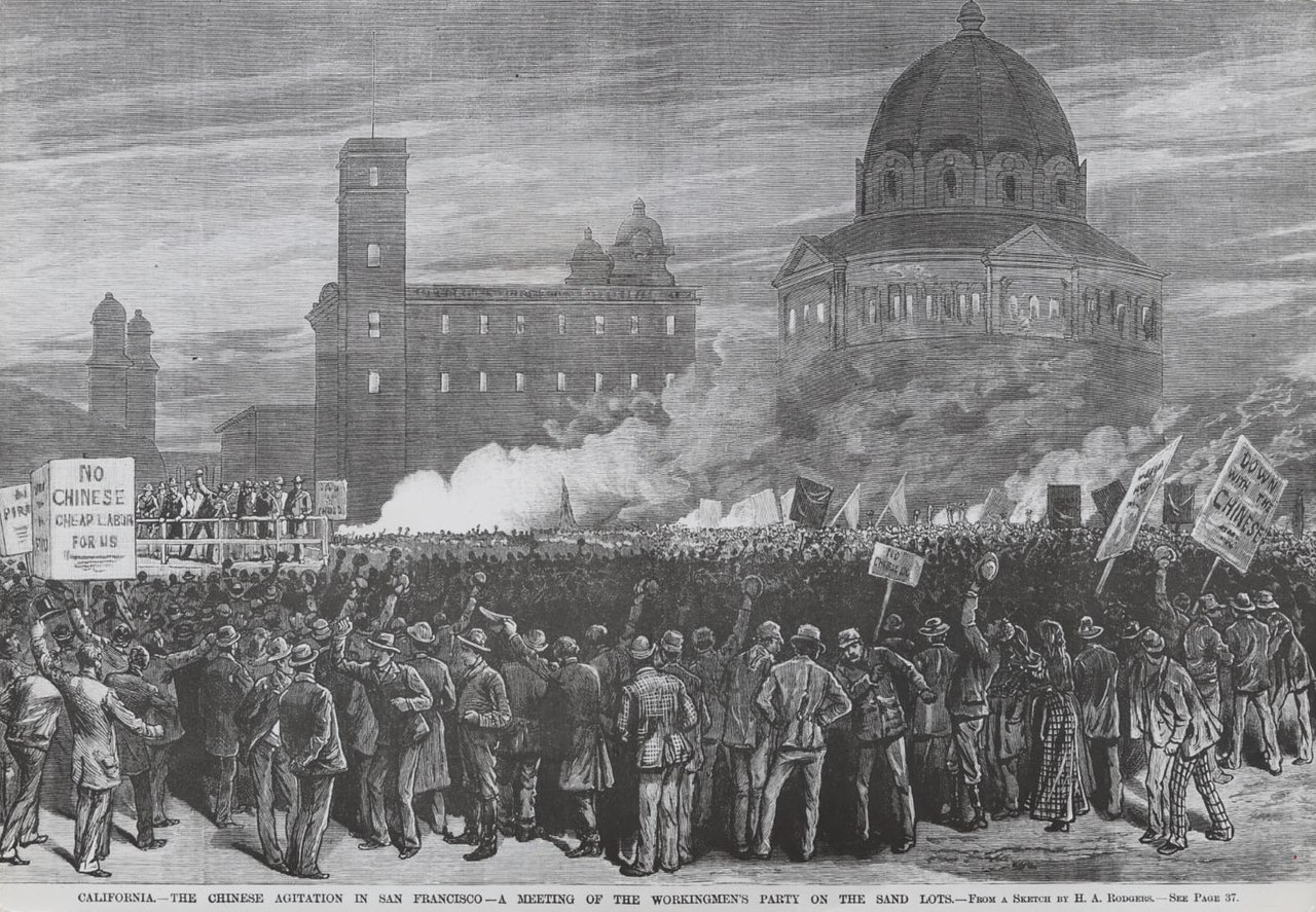 The 1877 anti-Chinese San Francisco race riots. (Illustration by H.A. Rodgers for Frank Leslie's Illustrated Newspaper/Wikipedia)