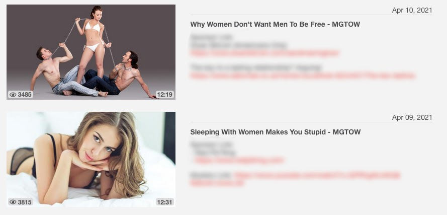 This channel regularly posts videos sexually objectifying women. It has over twenty thousand subscribers.