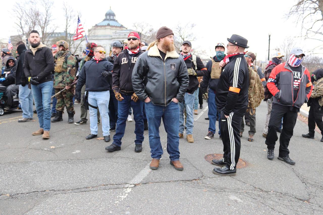 Proud Boys marching in front of the US Supreme Court on Wednesday morning, 6 January 2021 by Elvert Barnes Photography (CC BY-SA 2.0 via Wikimedia Commons)
