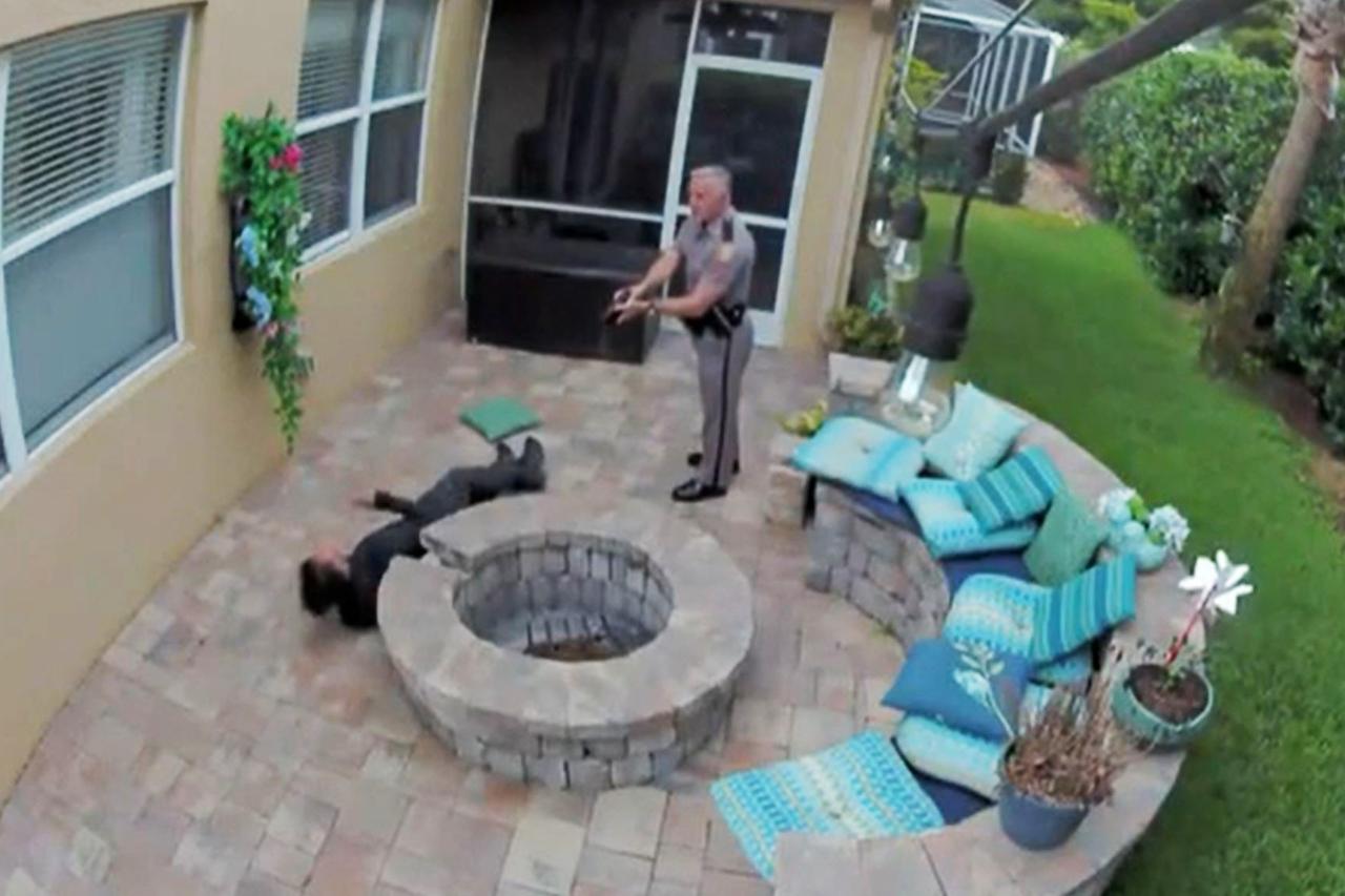 Florida Highway Patrol trooper George Smyrnios tasing Jack Rodeman. (Kristina Rodeman)
