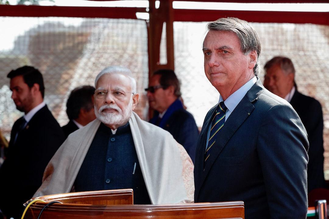 Indian Prime Minister Narendra Modi and Brazilian President Jair Bolsonaro – Delhi, India (January 25, 2020).