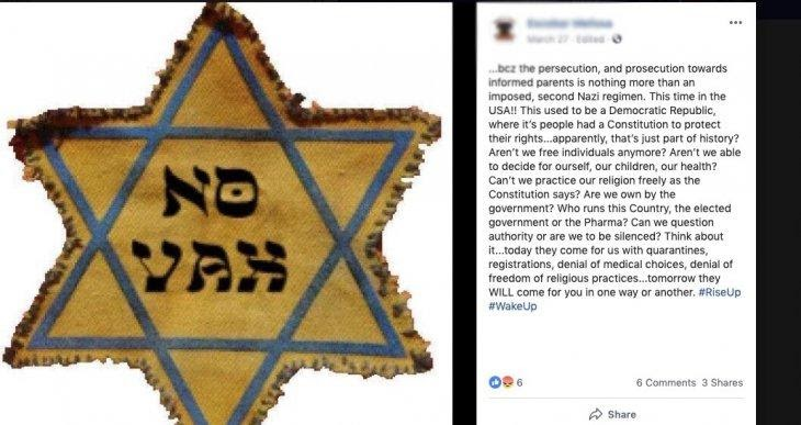 """Source: <a href=""""https://www.adl.org/blog/anti-vaccine-protesters-misappropriate-holocaust-era-symbol-to-promote-their-cause"""">The ADL</a>"""