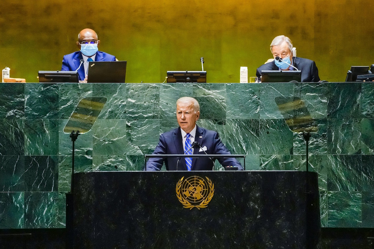 President Biden at the United Nations General Assembly – September 21, 2021. (The White House, Public domain, via Wikimedia Commons)