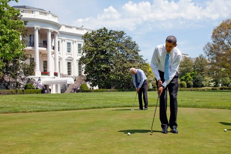 Obama and Biden Playing golf