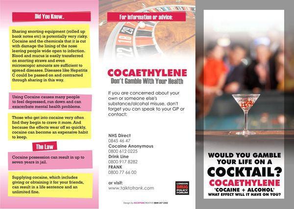 Southwark Cocaethylene Campaign Poster And Leaflet