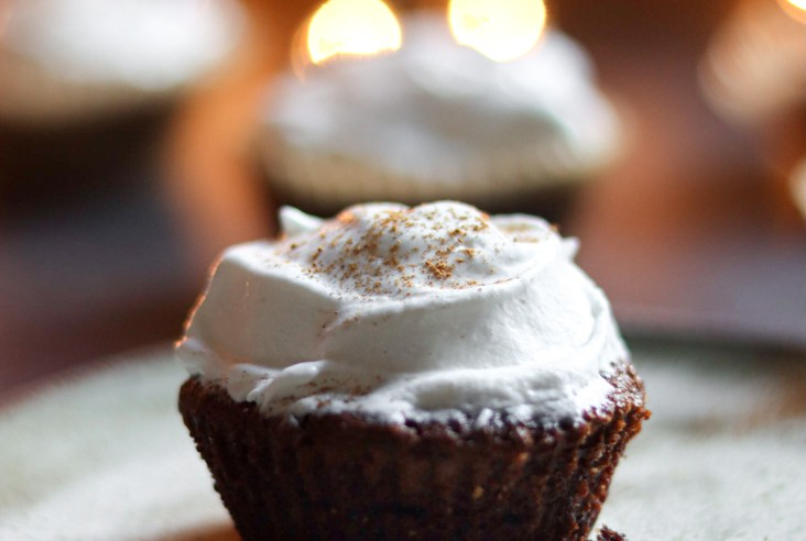 Flourless Chocolate Gingersnap Cupcakes