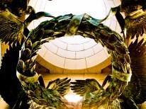 Battle wreath, World War II Memorial, Washington, DC, USA.
