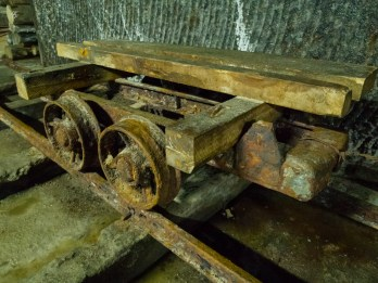 The wagons are corroded