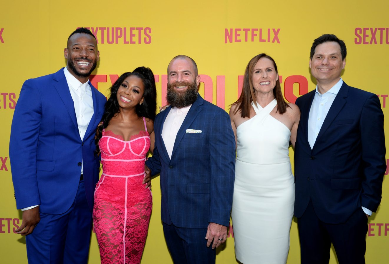 HOLLYWOOD, CALIFORNIA - AUGUST 07: Marlon Wayans, Bresha Webb, Michael Tiddes, Molly Shannon and Michael Ian Black attend the Netflix World Premiere Of 'SEXTUPLETS' at The Arclight Hollywood on August 07, 2019 in Hollywood, California. (Photo by Andrew Toth/Getty Images for Netflix)