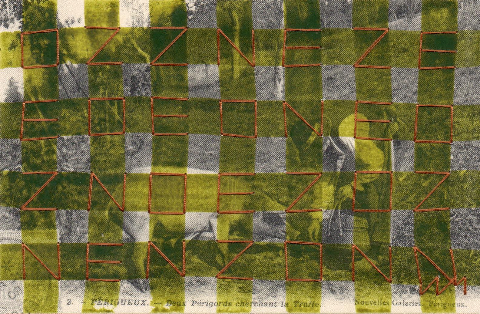 """Exposition à la galerie Art Show, avant de carte postale brodée, """"Enzo"""", 9 x 13 cm, 2021, Raphaël LAM"""