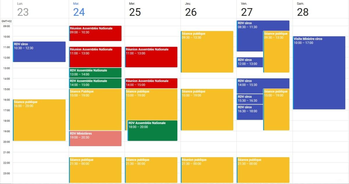 Agenda du 23 au 28 octobre 2017
