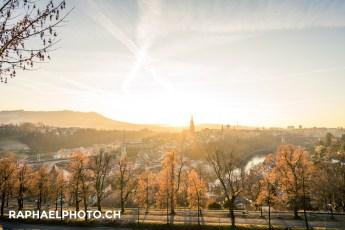 Aussicht auf die Altstadt Bern vom Rostengarten aus während dem Sonnenuntergang
