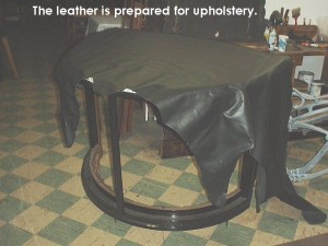 Leather prepared for upholstery