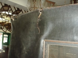 Tear in leather