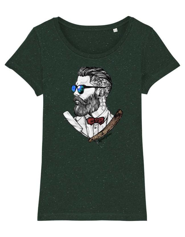 T-Shirt Barbu etTatoué, T-Shirt Femme barbu et fier, T-Shirt Barbier