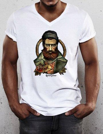 T-Shirt Col V imprimé, Tee Shirt Col V Homme pas cher, T-Shirt Fashion.