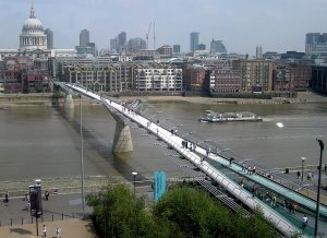 This is the Millenium Bridge in London with a 1:40 depth-to-span ratio.
