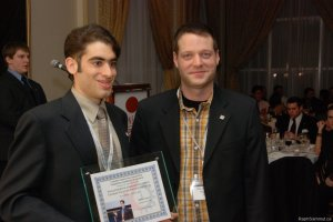 Raphael receiving his first place prize at the Canadian Engineering Competitions in Fredericton, New Brunswick.