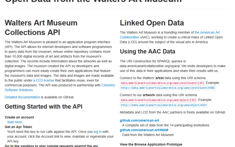 The Walters Art Museum Collections API