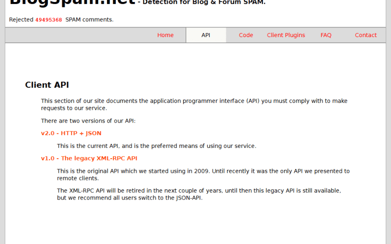 BlogSpam.net API