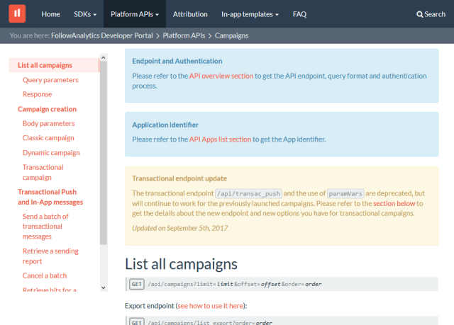 Followanalytics Campaigns API