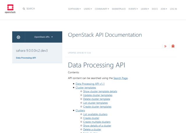 Openstack Data Processing API