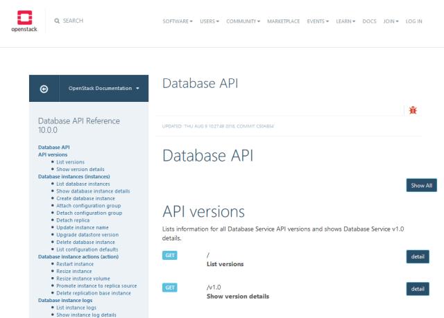 Openstack Database API