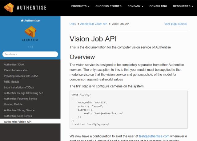 Authentise Vision Job API