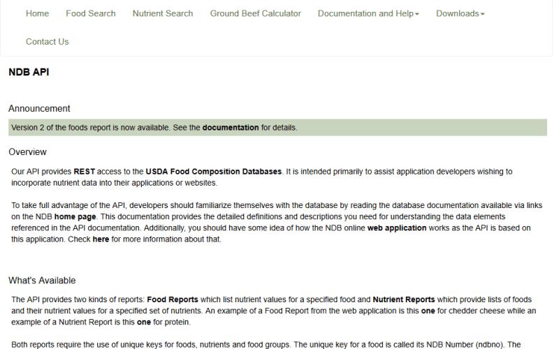National Nutrient Database API