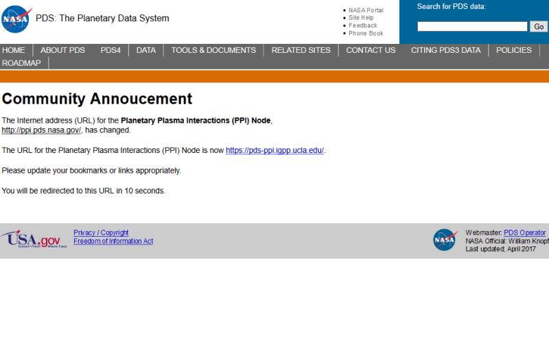 NASA Planetary Data Systems (PDS) API