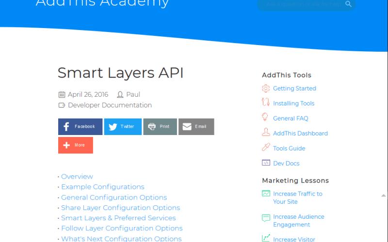 AddThis Smart Layers API
