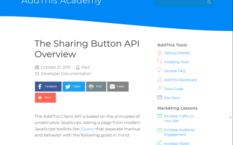 AddThis Sharing Button API