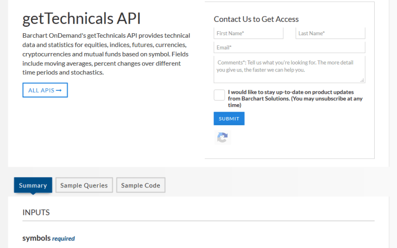 AgriCharts getTechnicals API