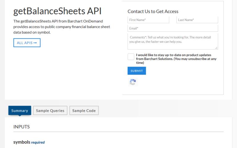 Barchart OnDemand getBalanceSheets API