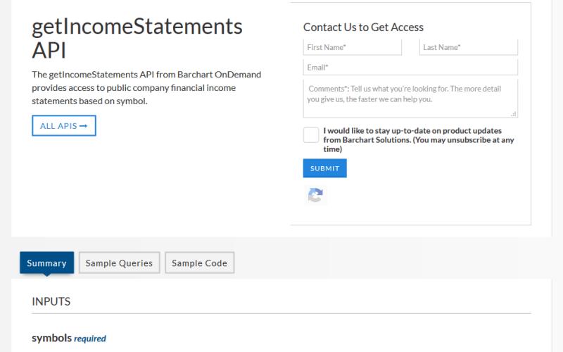 Barchart OnDemand getIncomeStatements API