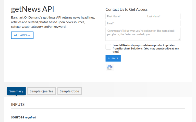 Barchart OnDemand getNews API