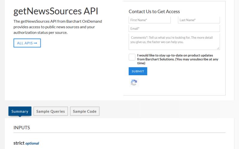 Barchart OnDemand getNewsSource API