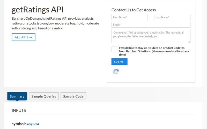 Barchart OnDemand getRatings API