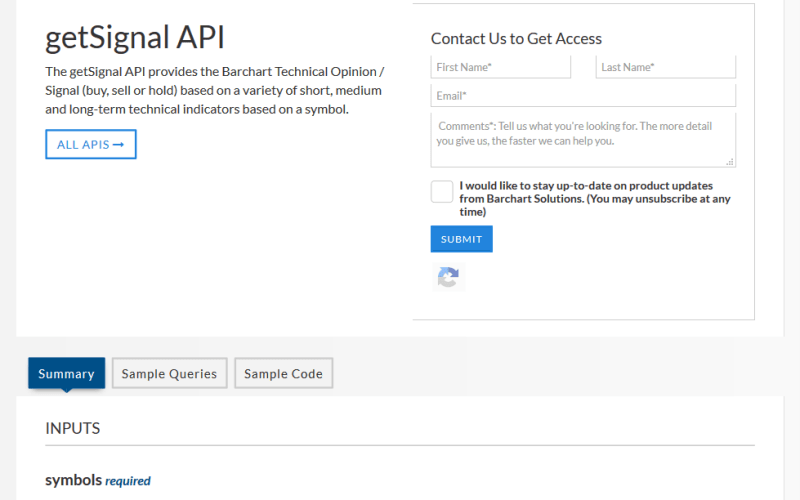 Barchart OnDemand getSignal API