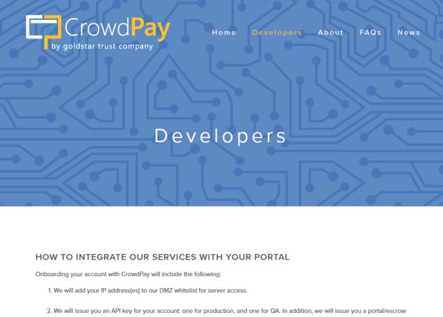 Goldstar Trust Crowdpay API