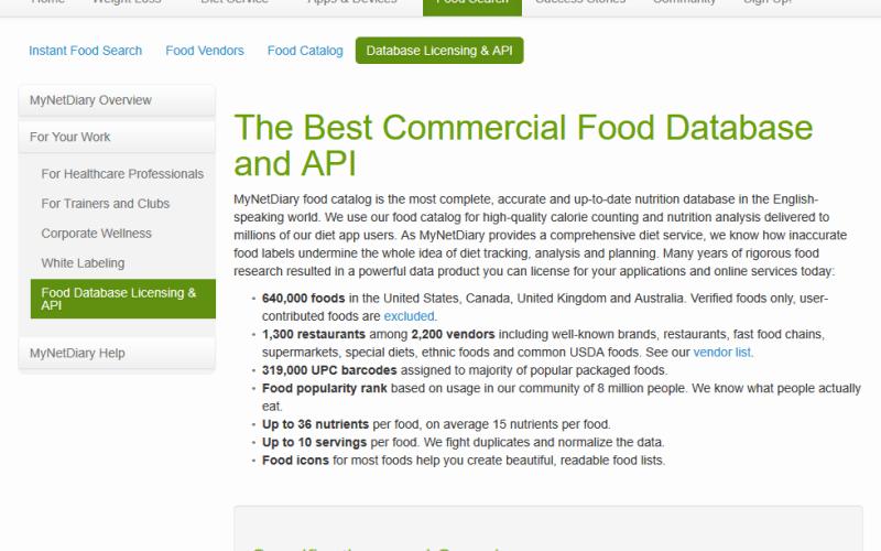 MyNetDiary Food Search API