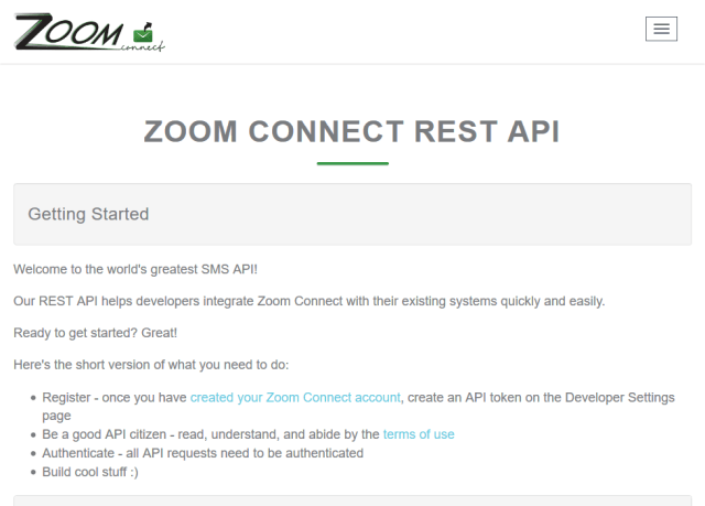 Zoom Connect Sms API