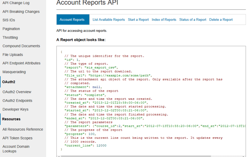 Instructure Canvas Account Reports API